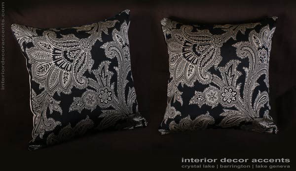 Schumacher elegant silk jacquard barrington in black for decorative throw pillows with lee jofa backing velvet for traditional, transitional and luxury interior design and timeless home decor accents