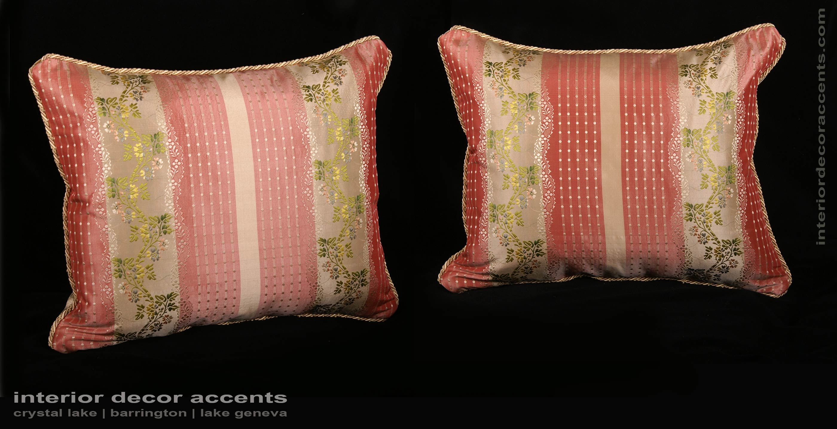 Pure Silk Lisere with Lee Jofa Velvet Two Elegant Pillows in Rose