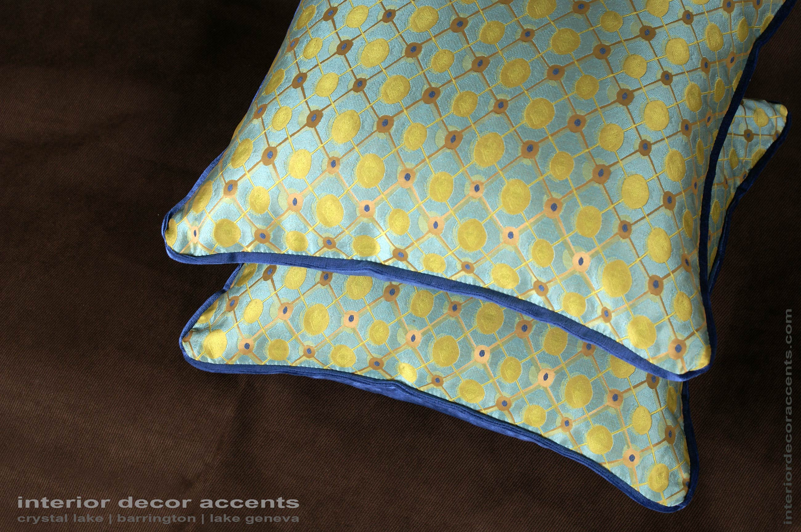 Pure Silk Modern Brocade Decorative Throw Pillows With Blue Donghia Backing  Velvet For Mis Century,