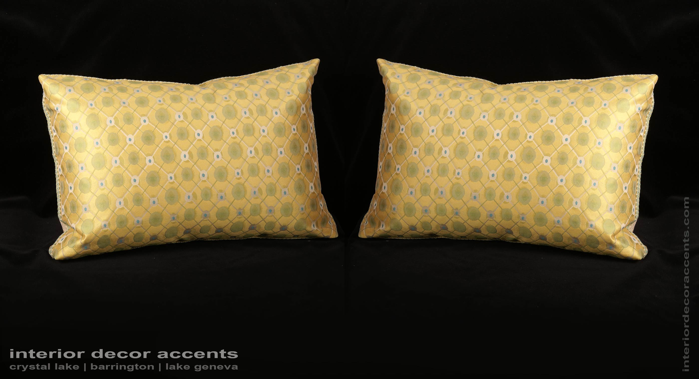 Stunning Retro Yellow Colored Pure Silk Lampas Decorative Throw Pillows With Kravet Couture Backing Velvet For