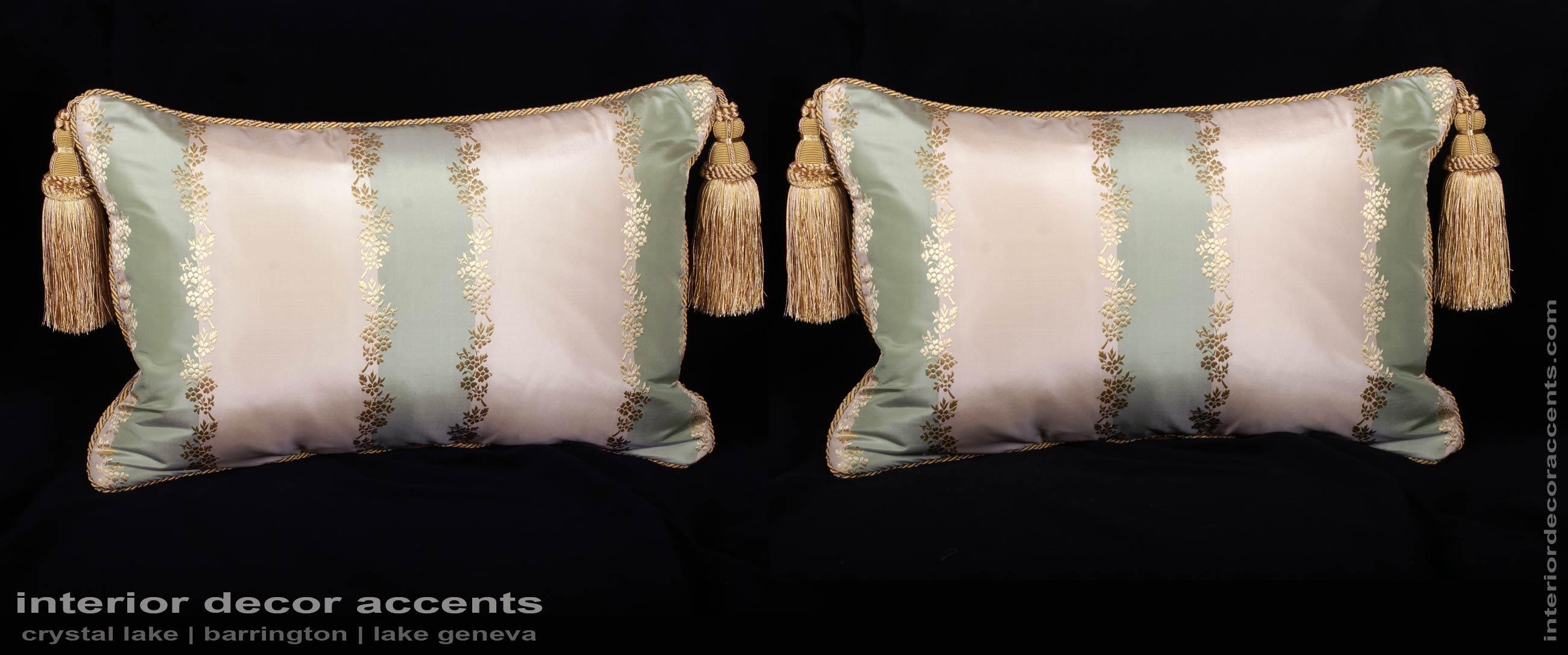 Striped Silk Lisere With Lee Jofa Velvet Designer Pillows