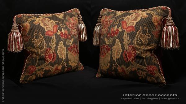 Stroheim floral brocade decorative designer pillows with decadant tassels for elegant and luxurious interior home decor accents