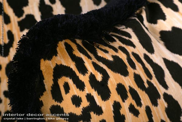Stunning custom made leopard velvet decorative throw pillows from stroheim with brunschwig backing velvet for modern, transitional and traditional interior design and timeless home decor accents