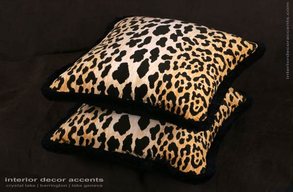 Stunning leopard velvet decorative throw pillows from stroheim with brunschwig backing velvet for modern, transitional and traditional interior design and timeless home decor accents