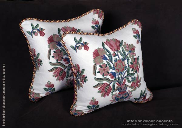 Lee Jofa Crewel decorative designer pillows with velvet backing for elegant home decor accents
