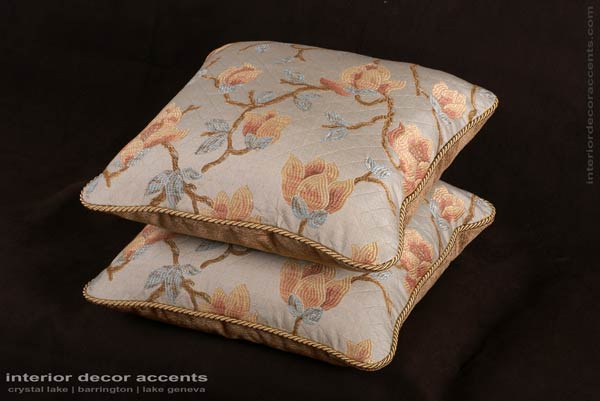 Italian floral vine brocade decorative throw pillows from travers with kravet couture backing velvet for transitional and traditional interior design and elegant home decor accents